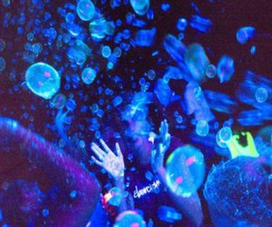 Blacklight UV bubbles at party