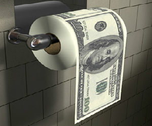Hanging money toilet paper roll