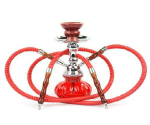 2 hose red hookah set