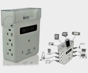 BESTK wall charging station with USB ports and ipod dock
