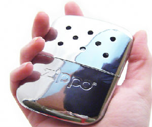 zippo hand warmer being held
