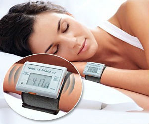 Women with vibrating alarm clock