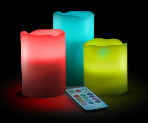 Colorful LED flickering candles