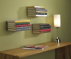 Umbra floating bookshelf with books